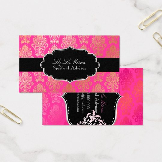 PixDezines Pink Victorian Damask/DIY color Business Card