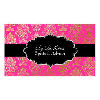 PixDezines Pink Victorian Damask/DIY color Business Card Template