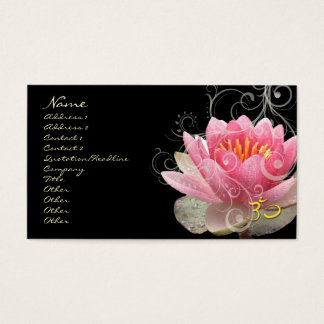 PixDezines pink water lily + pearly swirls Business Card