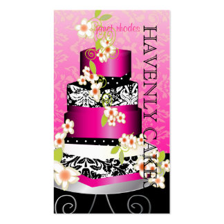 PixDezines pink wedding cake Bakery pâtisserie Business Card Template