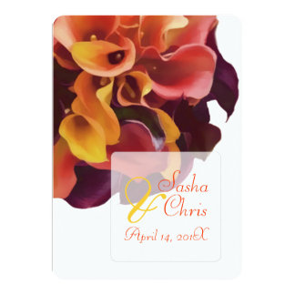PixDezines pink, yellow, purple,rusty orange calla Card