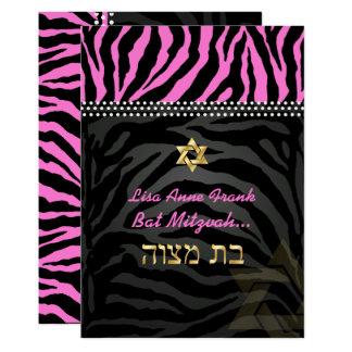 PixDezines Pink Zebra Bat Mitzvah / DIY color Card