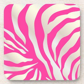 PixDezines Pink Zebra print/DIY colors Coaster