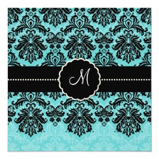 PixDezines Piqué, Damask / Black+Aqua Blue Velvet 5.25x5.25 Square Paper Invitation Card