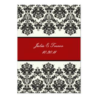 PixDezines Piqué, Damask / Black + Off White 5x7 Paper Invitation Card