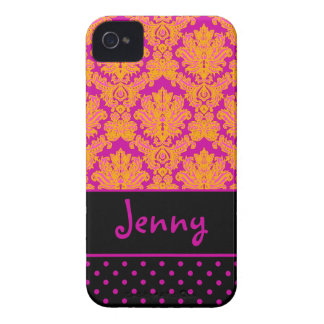 PixDezines Piqué Damask/Pink+Black/DIY color iPhone 4 Case-Mate Case