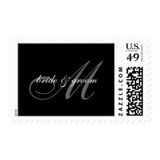 PixDezines Plain Black + White Monogram Postage Stamp