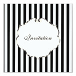 """PixDezines Plain stripes black + white/zebra frame 5.25"""" Square Invitation Card"""