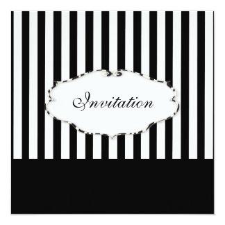 PixDezines Plain stripes black + white/zebra frame Invites