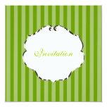 "PixDezines plain stripes/diy color/green 5.25"" Square Invitation Card"