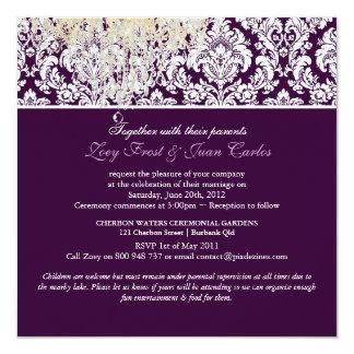 PixDezines Plum Moiré Damask/brown/fall wedding 5.25x5.25 Square Paper Invitation Card