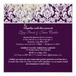 PixDezines Plum Moiré Damask/brown/fall wedding Invitation