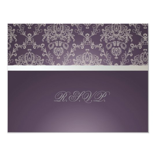 PixDezines plum+silver rsvp, dolcè damask Card