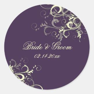 PixDezines Plum vanilla swirls wedding stickers