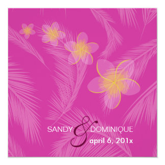 PixDezines Plumeria Hawaiian Islands/DIY /fuschia 5.25x5.25 Square Paper Invitation Card