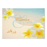 PixDezines Plumeria Lei+starfish+beach 5x7 Paper Invitation Card