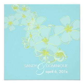 PixDezines Plumeria leis on sky blue/DIY color!!! 5.25x5.25 Square Paper Invitation Card