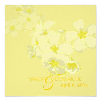 PixDezines plumerias on diy yellow background 5.25x5.25 Square Paper Invitation Card