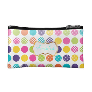 PixDezines polka dots/diy background+text Cosmetics Bags