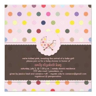 PixDezines Polkadots + Minidots baby shower Custom Invitation