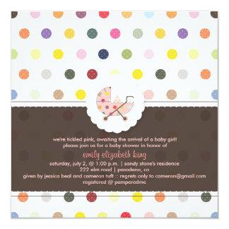 PixDezines Polkadots + Minidots baby shower Personalized Announcements