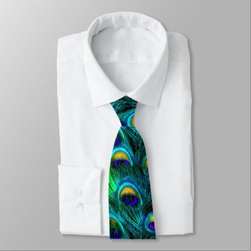 PixDezines Psychedelic PeacockCobaltAqua Blue Tie