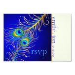 PixDezines psychedelic peacock/cobalt blue 3.5x5 Paper Invitation Card