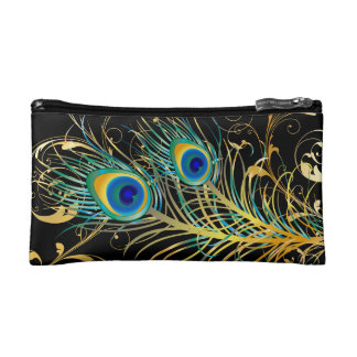 PixDezines psychedelic peacock/diy background+text Cosmetic Bags