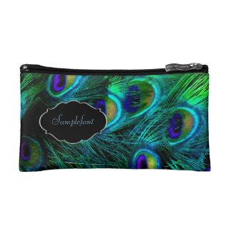 PixDezines psychedelic peacock/diy text Cosmetic Bag