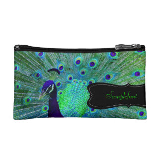 PixDezines psychedelic peacock/diy text Cosmetics Bags