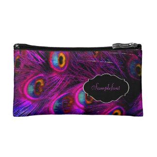 PixDezines psychedelic peacock/diy text Cosmetic Bags