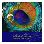PixDezines psychedelic peacock eye/cobalt blue 5.25x5.25 Square Paper Invitation Card