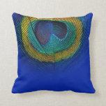 PixDezines psychedelic peacock eye/cobalt+red Pillow