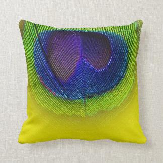 PixDezines psychedelic peacock eye/purple+yellow Throw Pillow