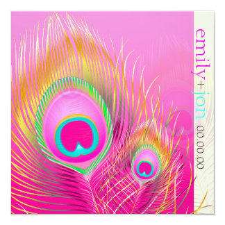 PixDezines psychedelic peacock feather/hot pink Card