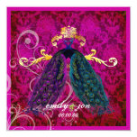 PixDezines psychedelic peacock feather/hot pink 5.25x5.25 Square Paper Invitation Card