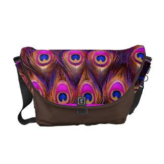 PixDezines Psychedelic Peacock/pink/blue Messenger Bags