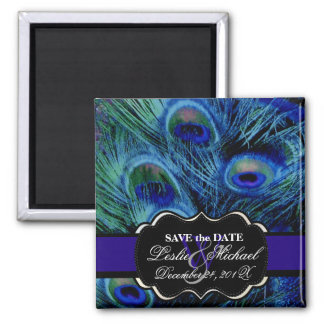 PixDezines Psychedelic Peacock, Save the Date Magnets