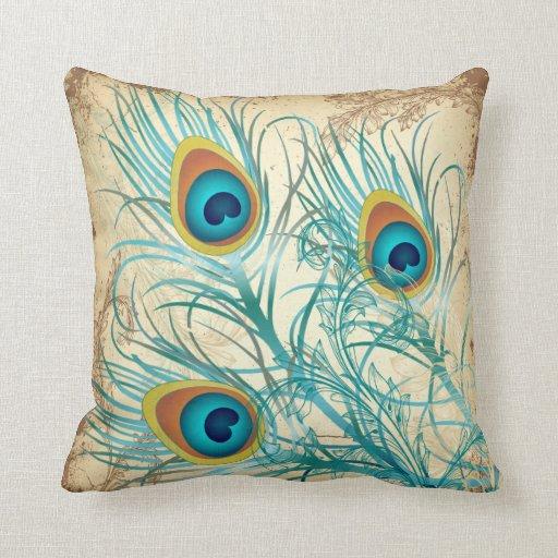 PixDezines psychedelic peacock/vintage background Throw Pillows
