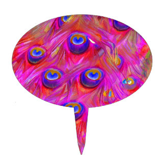 PixDezines psychedelic pink peacock feather Cake Topper