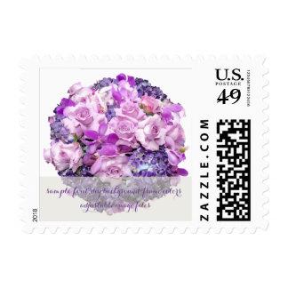 PixDezines purple bouquet/hydrangeas/orchid/roses Postage