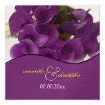 PixDezines purple calla lilies/diy 5.25x5.25 Square Paper Invitation Card