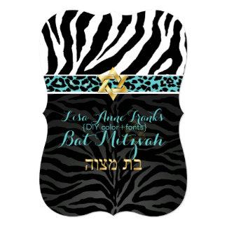 PixDezines purple/DIY color/Zebra/Bat Mitzvah 5x7 Paper Invitation Card