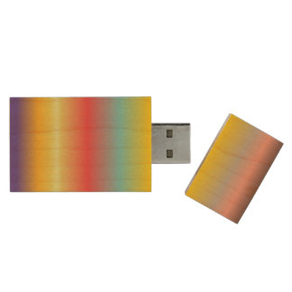 PixDezines rainbow / colorful shaved ice Wood USB 2.0 Flash Drive