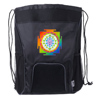 PixDezines Rainbow Sri Yantra/Mandala/Chakra Clear Drawstring Backpack