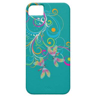 PixDezines Rainbow Swirls+Dragonflies DIY color iPhone 5 Covers