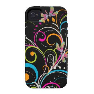 PixDezines Rainbow Swirls+Dragonfly/DIY color iPhone 4/4S Covers