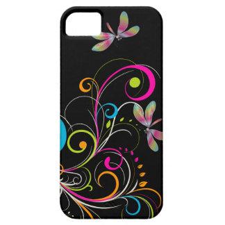 PixDezines Rainbow Swirls+Dragonfly DIY color iPhone 5 Cover