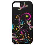 PixDezines Rainbow Swirls+Dragonfly/DIY color iPhone 5 Cases
