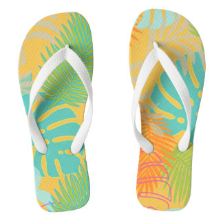PixDezines rainforest/DIY background color Flip Flops